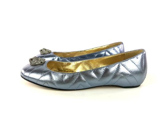 Gucci Sparkly Metallic Quilted Leather Icy Blue Flats Image 5