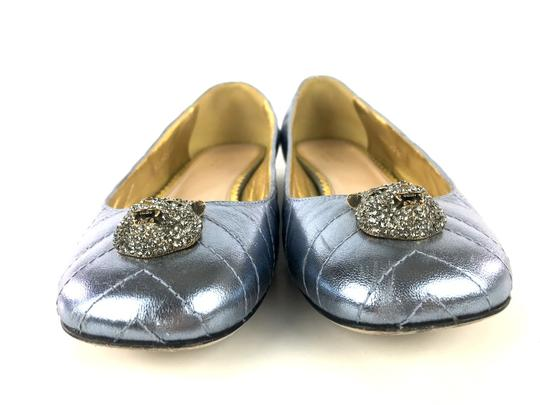 Gucci Sparkly Metallic Quilted Leather Icy Blue Flats Image 7
