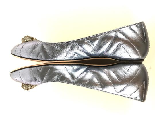 Gucci Sparkly Metallic Quilted Leather Icy Blue Flats Image 8