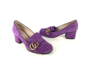 Gucci Suede Marmont Leather Purple Pumps
