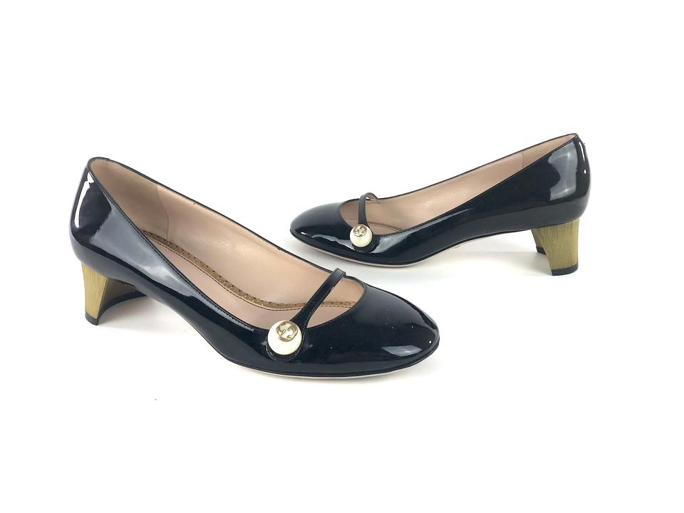 b95d460cd4b2 Gucci Black Patent Leather Arielle Mary Jane Round Toe Vernice Pumps ...