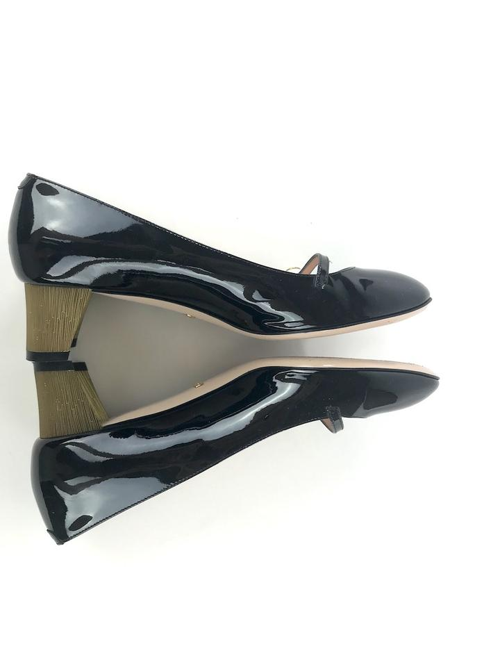 3543b39fbac7 Gucci Patent Leather Mary Jane Leather Gold Black Pumps Image 9. 12345678910