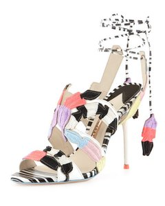 Sophia Webster Feather Date Night Night Out Hollywood Multi Color Black White Sandals