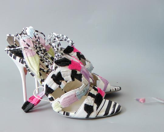 Sophia Webster Feather Date Night Night Out Hollywood Multi Color Black White Sandals Image 3