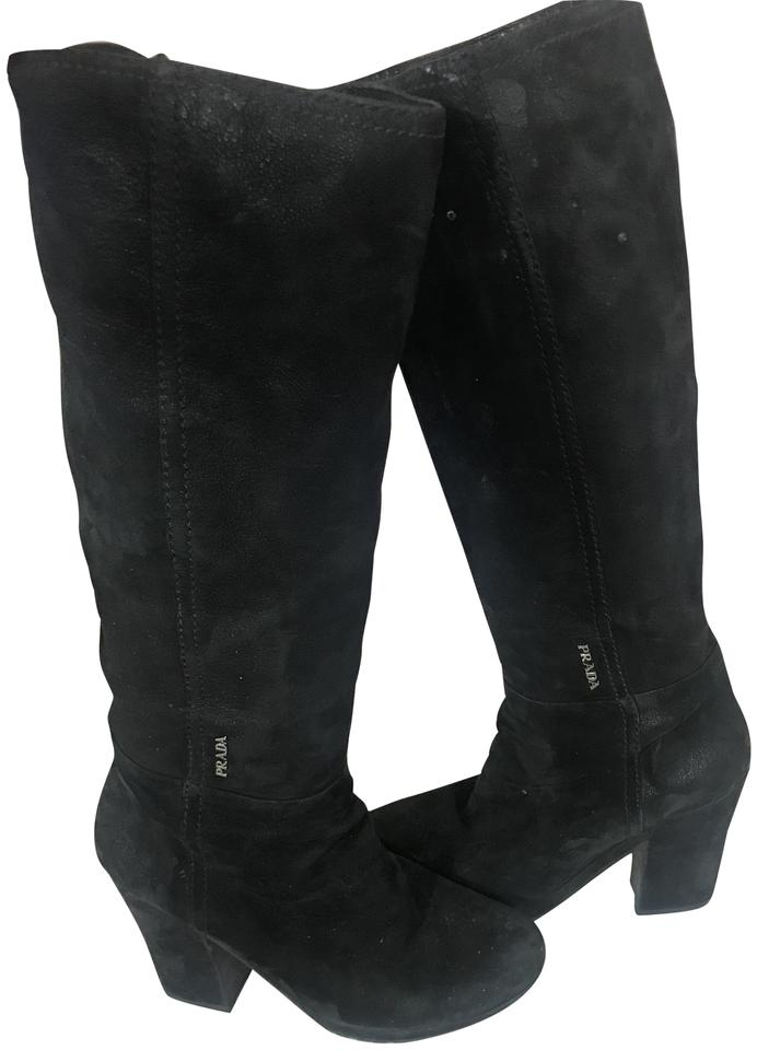 68293c0a2da7 Prada Black 1211018 Matted Suede Leather Lug Sole Tall Boots Booties ...