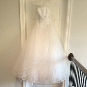 Mori Lee White Satin & Toile Traditional Wedding Dress Size 4 (S)