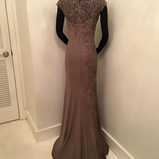 Montage by Mon Cheri Mocha Crepe/Lace 217948 Formal Bridesmaid/Mob Dress Size 10 (M) Image 1
