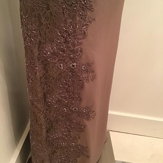 Montage by Mon Cheri Mocha Crepe/Lace 217948 Formal Bridesmaid/Mob Dress Size 10 (M) Image 6