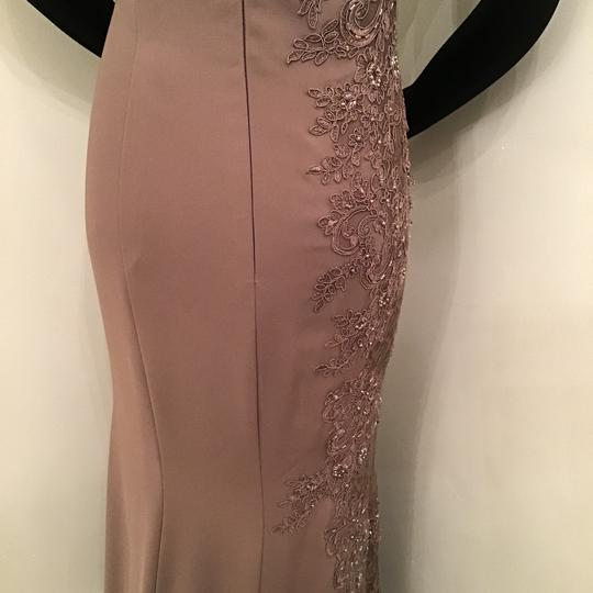 Montage by Mon Cheri Mocha Crepe/Lace 217948 Formal Bridesmaid/Mob Dress Size 10 (M) Image 8