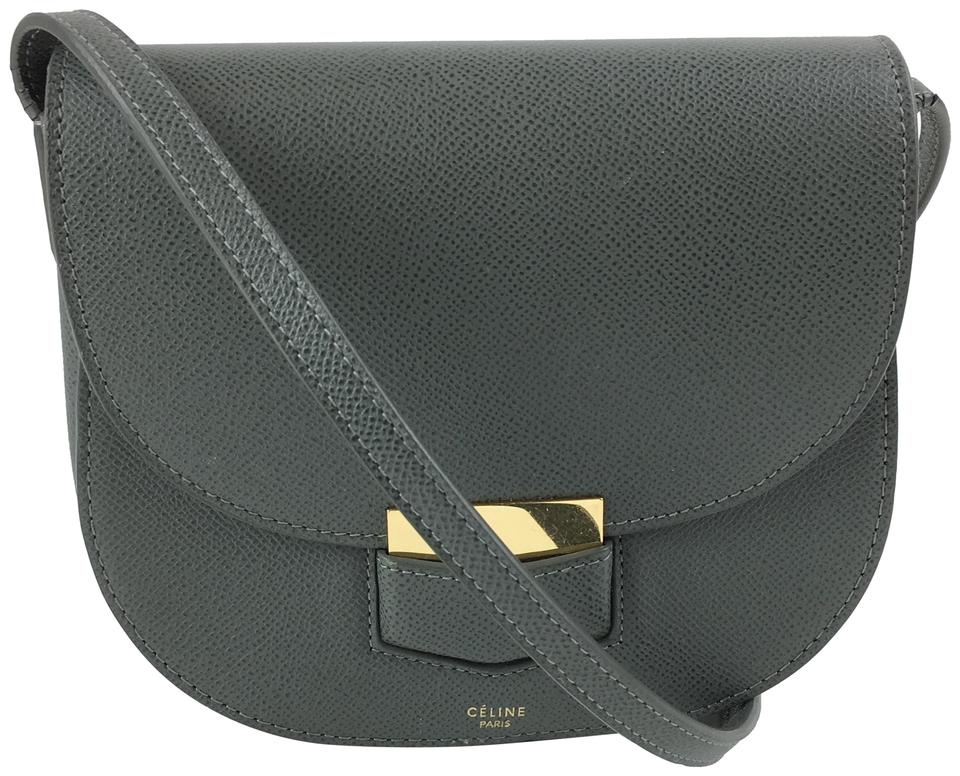db761cb27af Céline Trotteur Small Gray Leather Cross Body Bag 48% off retail