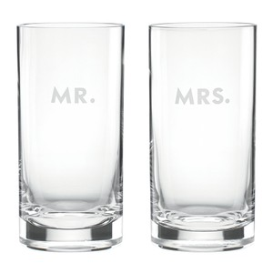 Kate Spade Clear New York Mr and Mrs Darling Point Hiball Tumblers Set Of 2 Barware