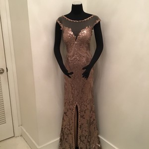 Cameron Blake Bronze Sequin Lace/Tulle 117619 Formal Bridesmaid/Mob Dress Size 10 (M)