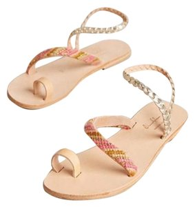 Anthropologie tan and pink Sandals