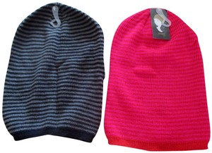 Mixit Two New Women's MIXIT Stripe Stocking Hats Black/Gray & Red/Hot Pink