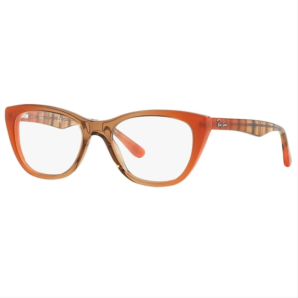 2286394988d Ray-Ban Gradient Brown On Orange Frame   Demo Lens Women Cat Eye Eyeglasses