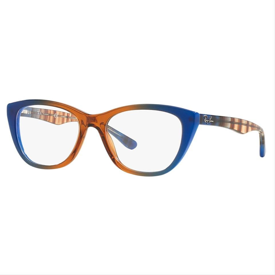 8d9d9b53f2 Ray-Ban Gradient Brown On Blue Frame   Demo Lens Women Cat Eye ...