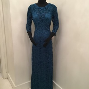 Jade Couture Teal Lace/Malay Satin K168065 Formal Bridesmaid/Mob Dress Size 10 (M)