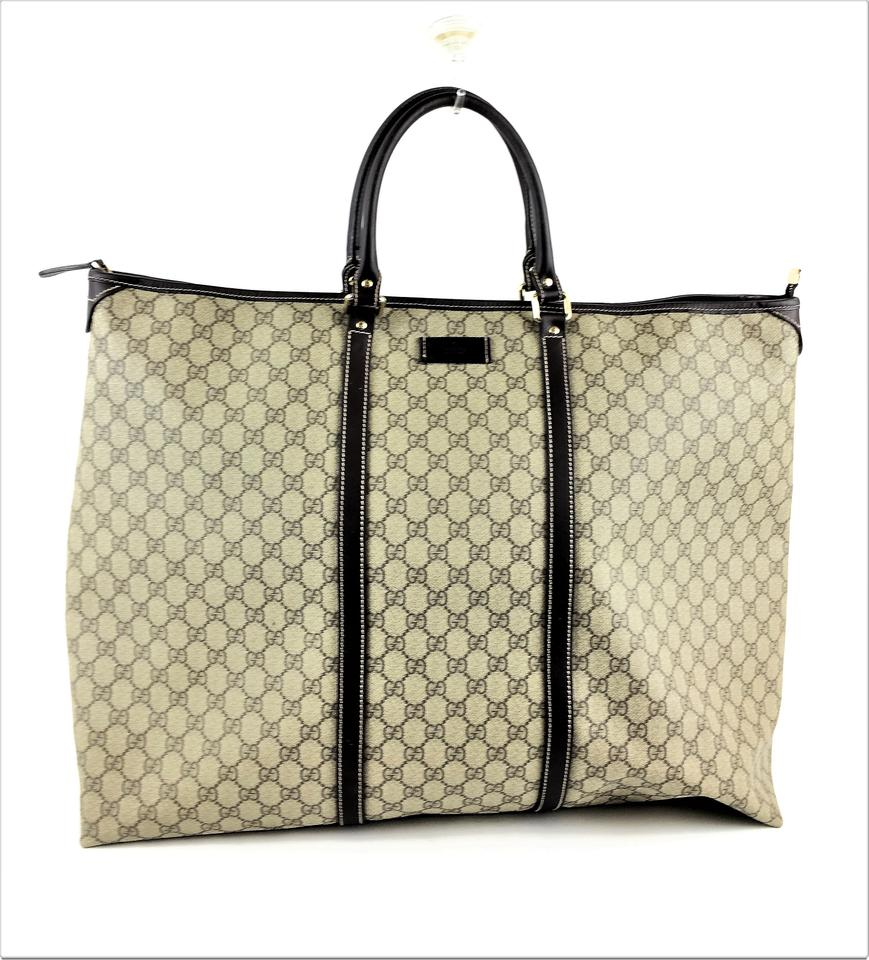 c06655b22c4 Gucci Gg Large Tote Beige Brown Canvas Weekend Travel Bag - Tradesy
