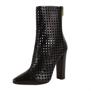 Balmain Leather Cut-out Cap Toe Pointed Toe Gold Hardware Black Boots