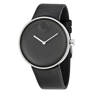 Movado NEW MENS MOVADO EDGE (3680002) BLACK ALUMINUM DIAL LEATHER STRAP WATCH