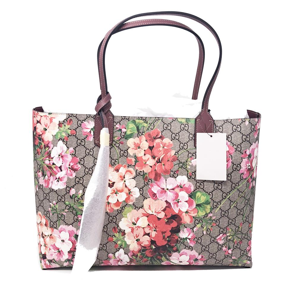 1c16ad09bc5f8 Gucci Gg Blooms Medium Reversible Pink Rose Supreme Canvas Leather ...