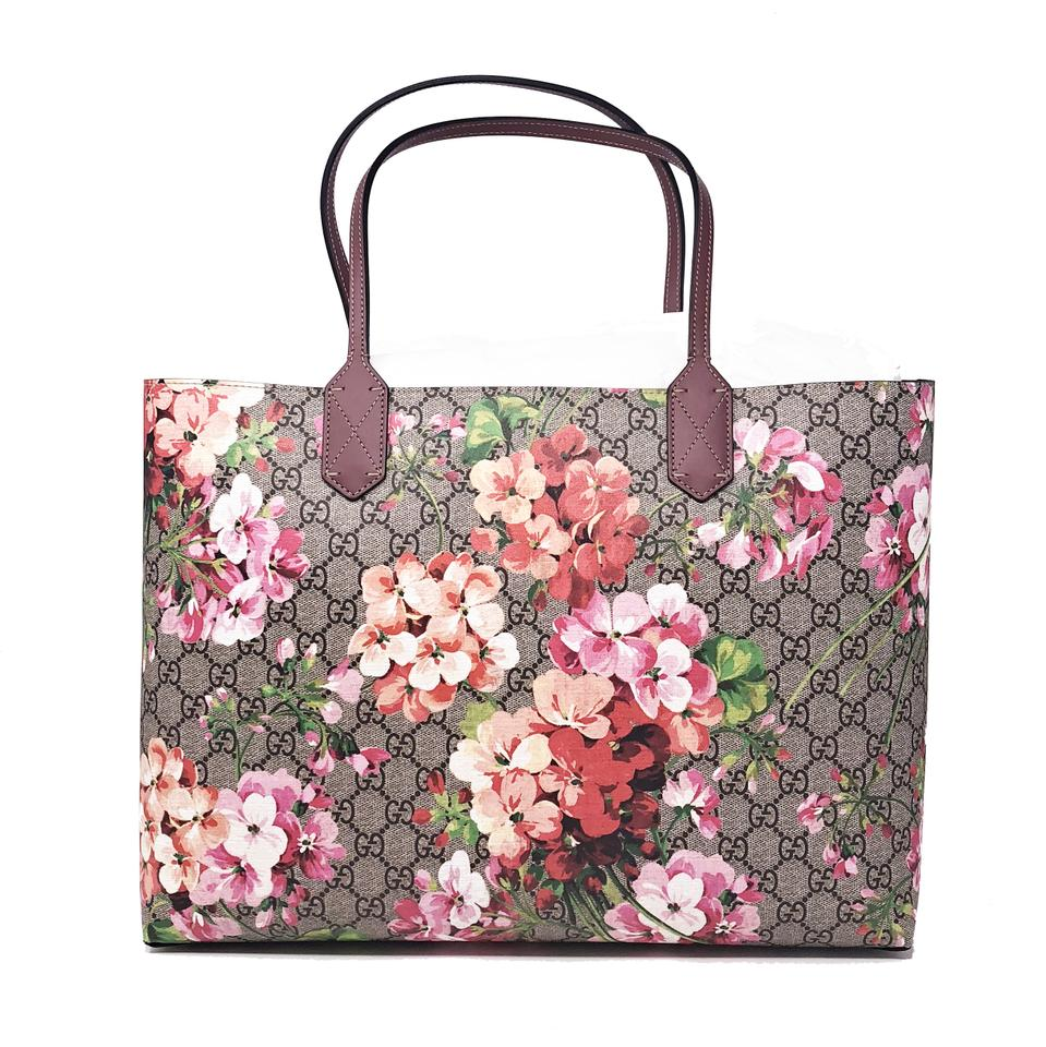 e55f2be41278 Gucci Reversible Bag Gg Blooms Medium Pink Rose Supreme Canvas/Leather Tote  - Tradesy