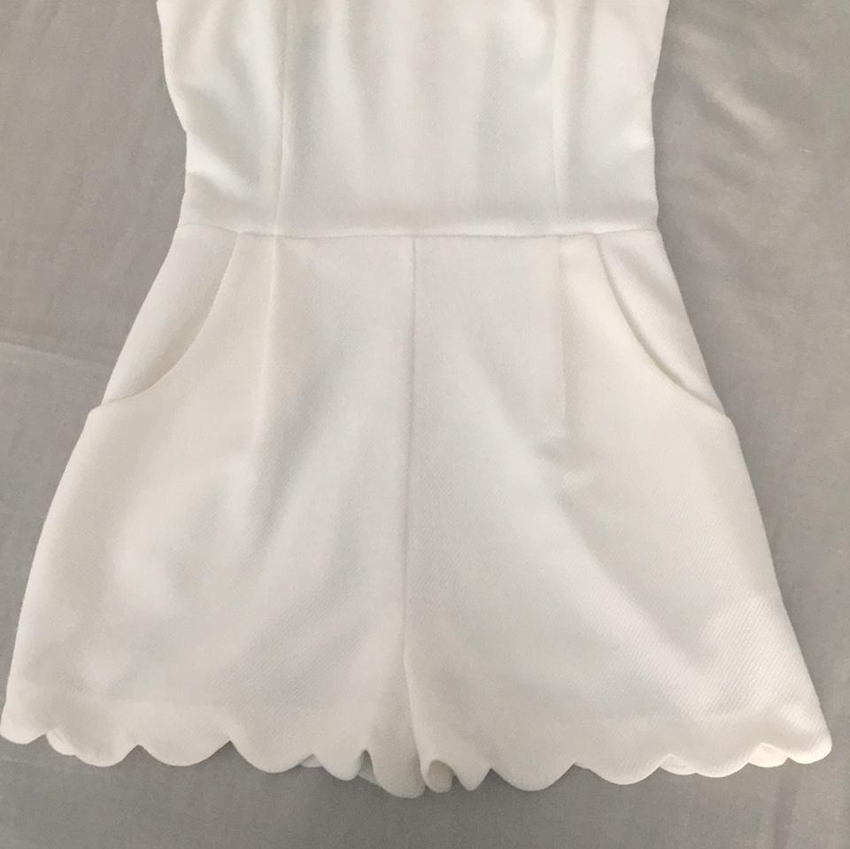 fe61349ff968 Lush White Scalloped with Cutout Detail Romper Jumpsuit - Tradesy