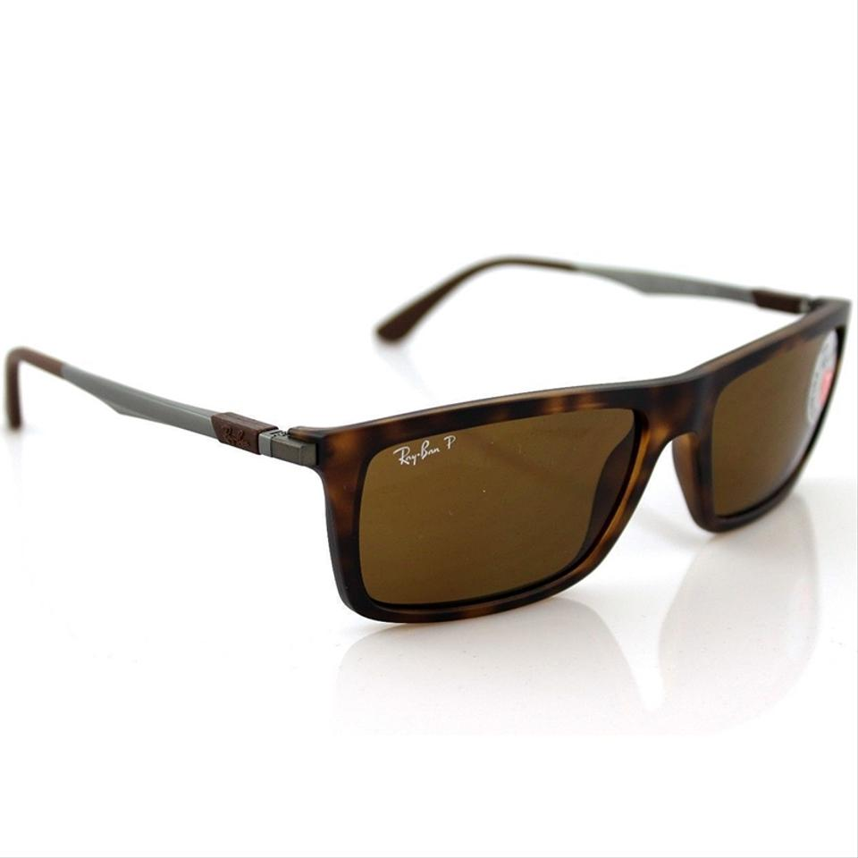 3abbe790735 Ray-Ban Square Style Unisex RB4214 609283 Brown Classic B-15 Polarized Lens  Image ...