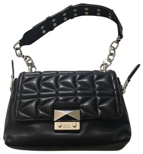 Karl Lagerfeld Quilted Leather Studded Silver Chain Leather Shoulder Bag