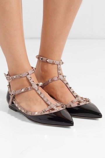 Valentino Caged Rockstud Patent Black and Poudre Flats