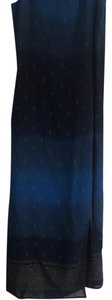 graduated shades of blue with gold flower Maxi Dress by Hillard & Hanson