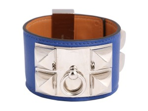 Hermès BLEU ELECTRIQUE SWIFT LEATHER COLLIER DE CHIEN CDC BRACELET