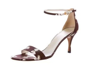 Gucci Floral Stiletto Ankle Strap Sandal Canvas Brown Pumps