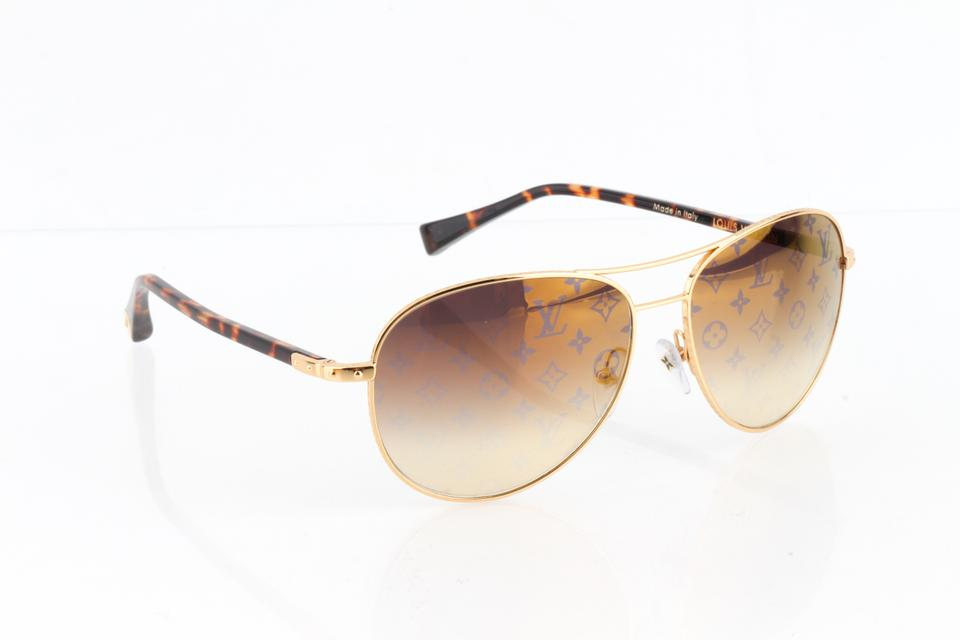 d5d8edc338c Louis Vuitton Louis Vuitton Gold Brown Tortoise Z0164U Conspiration Pilote  Sunglasse Image 11. 123456789101112