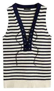 J.Crew Nautical Lace-up Ribbed Striped Top Navy Blue and Ivory