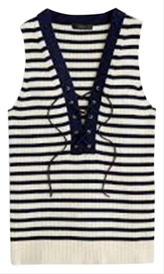 J.Crew Navy Blue and Ivory Ribbed Lace-up Sweater In Stripe Tank Top ... 7c36bd30a