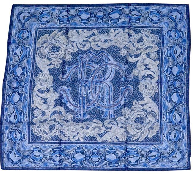"Item - Blue Silk ""Python and Lace"" Print 90 Cm Sq Scarf/Wrap"