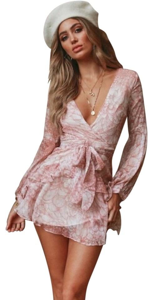 3a279bfc4f7a Hello Molly Blush Pink Nude White Long Sleeve Plunge Neck Flowing Mini with  Tie Cocktail Dress