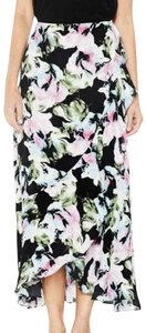 Vince Camuto Floral Ruffled Maxi Skirt Black