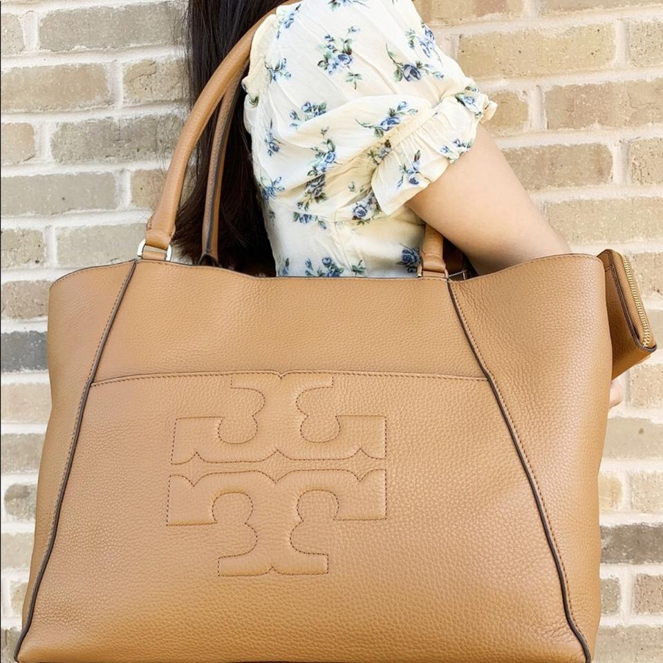 Tory Burch T Bombe Large East West and Wallet Set Bark Tan Leather Tote -  Tradesy abcb42c17bdd1