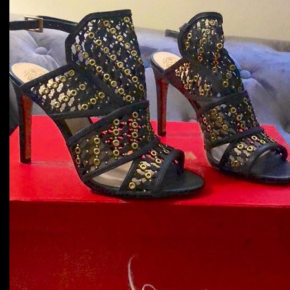 b522a0c648c9 Vince Camuto Black Gold And Caged Leather Open Toe Stiletto Heels ...