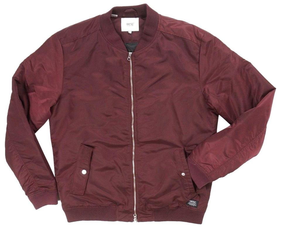 Voorkeur WeSC Red L Men's Prune Nylon Full Zip Rush Padded Bomber Jacket @RA37