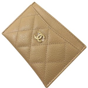 Chanel Beige Chanel Caviar Gold Hardware Card Case Holder Wallet