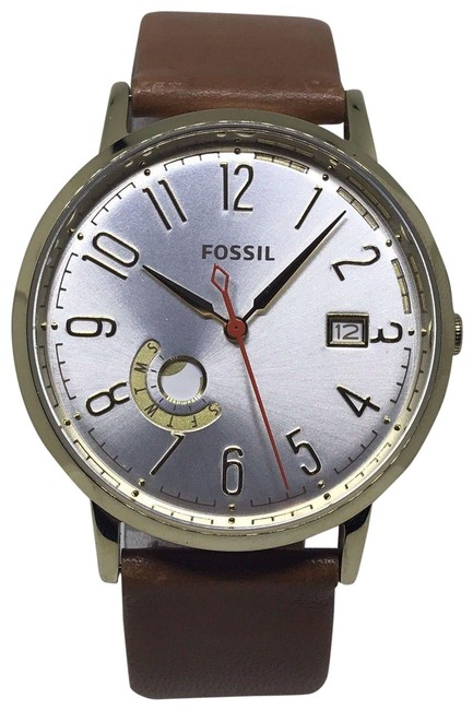 Item - Brown Es3750 Vintage Muse Silver Dial Tan Leather Strap Women's Watch