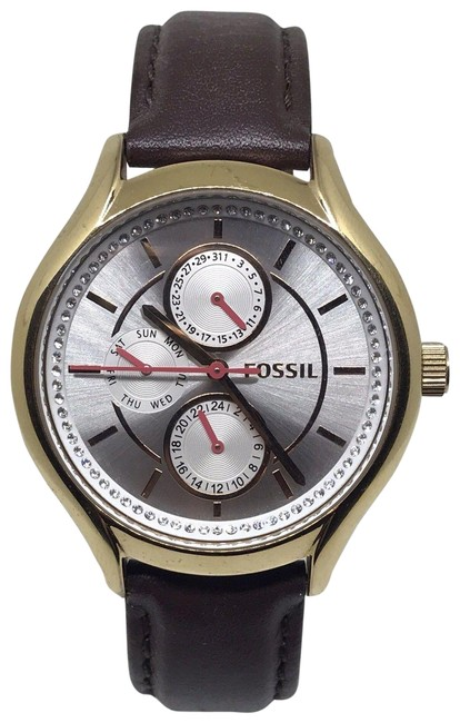 Item - Brown Gold Tone Leather Band Multifunction Watch