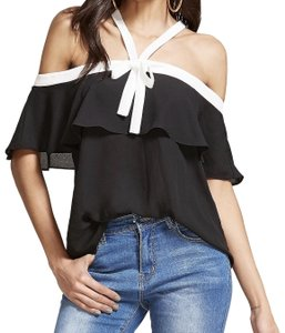 SheIn Open Shoulder Top Black and white