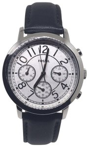 Fossil Fossil BQ3229 White Dial Black Leather Strap Chronograph Men's Watch