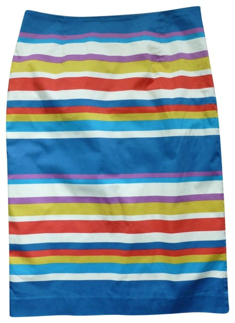Boden Blue Red Yellow Striped Pencil Skirt Size 4 (S, 27) Boden Blue Red Yellow Striped Pencil Skirt Size 4 (S, 27) Image 1