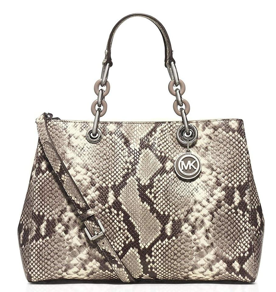30eb6df877e6 MICHAEL Michael Kors Cynthia Medium Natural Python-embossed Leather Satchel