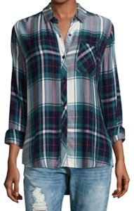 Rails Hunter Button Down Shirt White Green Navy Plaid with Red Pin Stripes